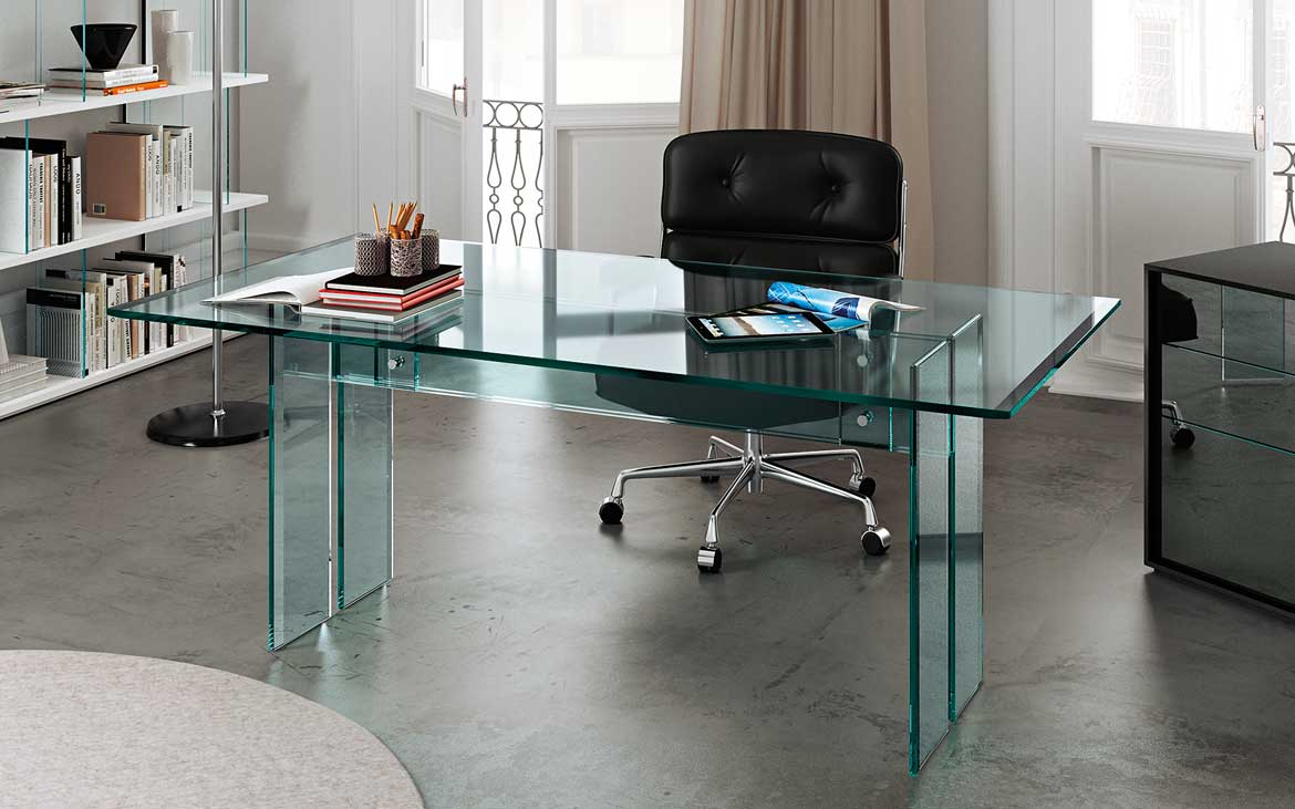Llt the glass desk for the home office fiam italia for Scrivania cristallo design