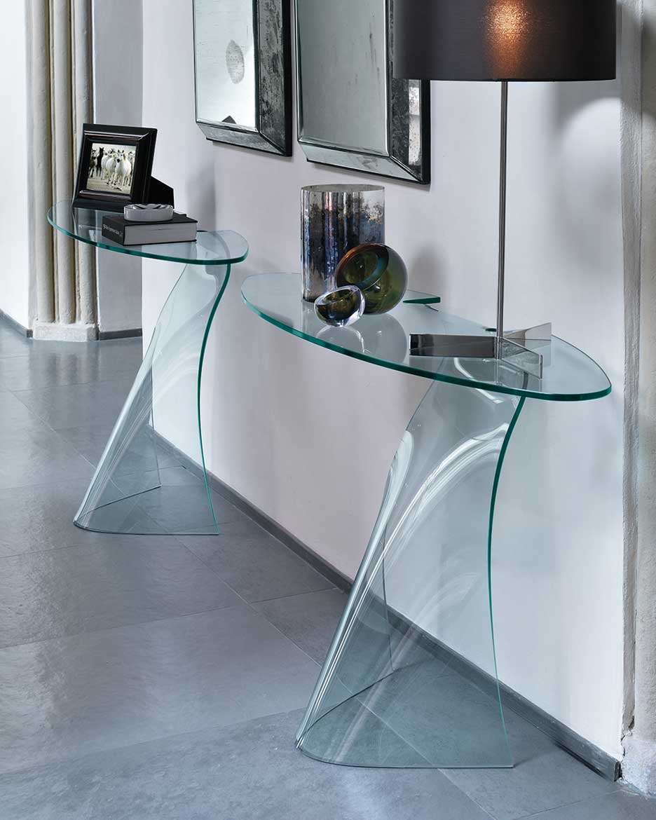Dama the curved glass console fiam italia for Consolle in cristallo