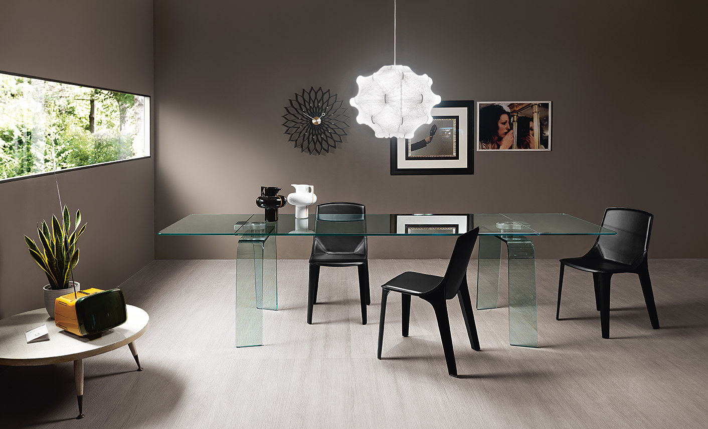 Table Extensible Design Italien modern curved glass tables – fiam italia