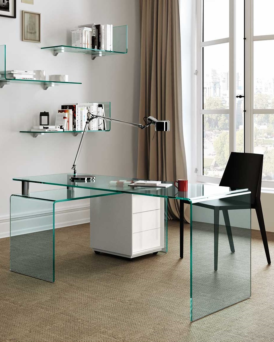 der schreibtisch aus gebogenem glas rialto isola fiam italia. Black Bedroom Furniture Sets. Home Design Ideas