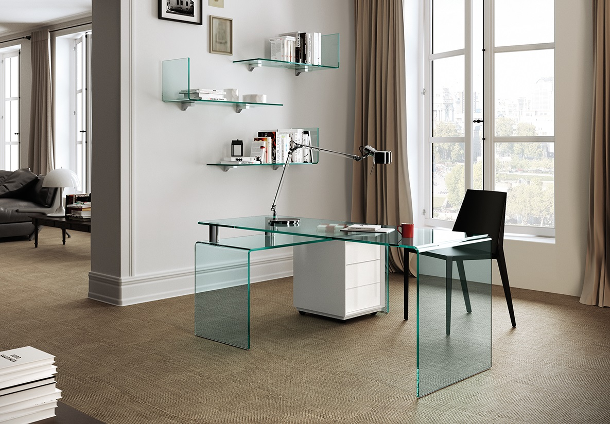 la table de bureau en verre cintr rialto isola fiam italia. Black Bedroom Furniture Sets. Home Design Ideas